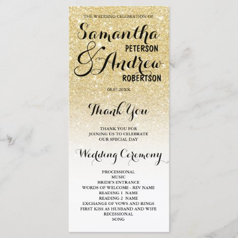 Chic faux gold glitter ombre Wedding Program