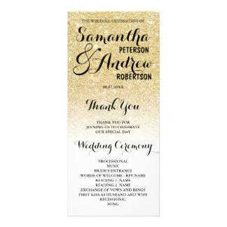 Chic faux gold glitter ombre Wedding Program