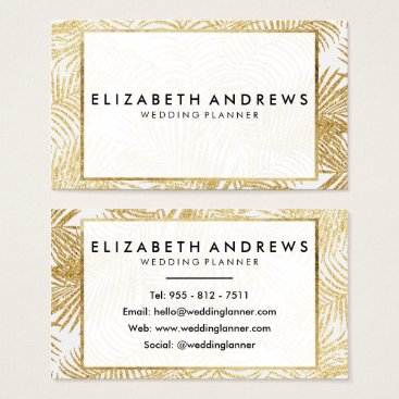 Professional Business Chic faux gold glitter palm tree Business Cards