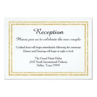 Chic Faux Gold Glitter Trim-Reception Invition Card