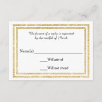 Chic Faux Gold Glittered Trim - RSVP Card