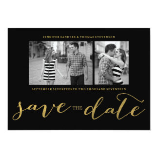 CHIC FAUX GOLD HANDWRITTEN | PHOTO SAVE THE DATE CARD