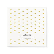 chic faux gold hearts pattern on white wedding napkin