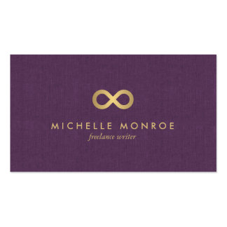 Chic Faux Gold Infinity Symbol on Purple Linen Business Card