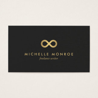 Chic Faux Gold Infinity Symbol on Soft Black Business Card