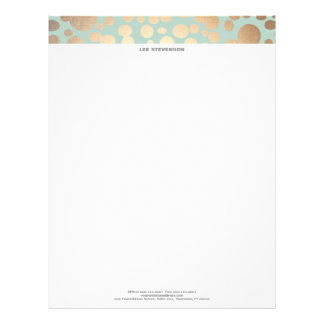 Chic Faux Gold Leaf Circle Pattern and Turquoise Letterhead