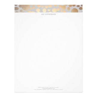 Chic Faux Gold Leaf Circle Pattern Letterhead