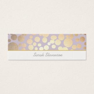 Chic Faux Gold Leaf Circles Light Purple Mini Business Card