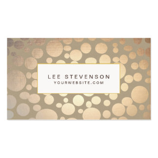 Chic Faux Gold Leaf Circles Taupe Look Double-Sided Standard Business Cards (Pack Of 100)