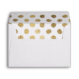 Chic faux gold leaf polka dots brushstrokes envelope