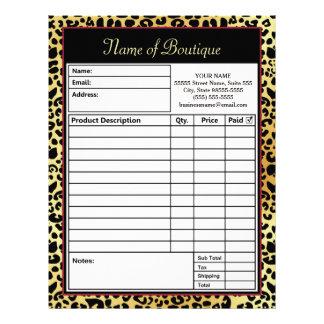 Chic FAUX Gold Leopard Print Boutique Order Form Letterhead