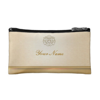 Chic Faux Gold Linen Stamp Clutches Makeup Bags