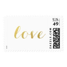 CHIC FAUX GOLD LOVE POSTAGE at Zazzle