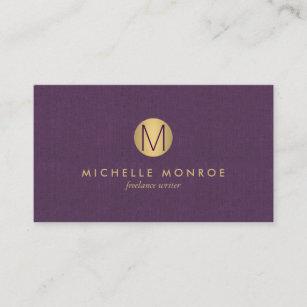 Realtor logo gifts on zazzle chic faux gold minimalist monogram purple linen business card colourmoves