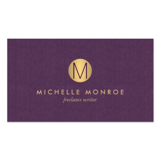 Chic Faux Gold Minimalist Monogram Purple Linen Double-Sided Standard Business Cards (Pack Of 100)