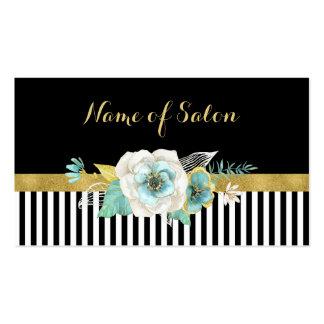 Chic Faux Gold Mint Flowers Black Stripes Salon Business Card