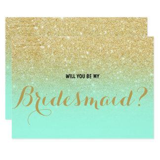 chic faux gold mint will you be my bridesmaid card - Mint And Gold Wedding Invitations