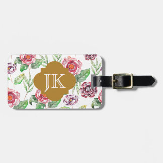 Chic Faux Gold Monogram Floral Watercolor Bag Tag