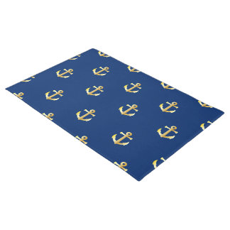 Chic Faux Gold Nautical Anchors Pattern Doormat