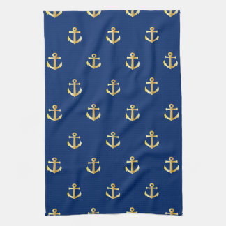 Chic Faux Gold Nautical Anchors Pattern Kitchen Towel