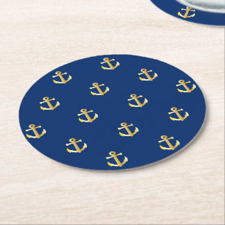 Chic Faux Gold Nautical Anchors Pattern Round Paper Coaster