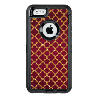 Chic faux gold quatrefoil girly red burgundy OtterBox iPhone 6/6s case