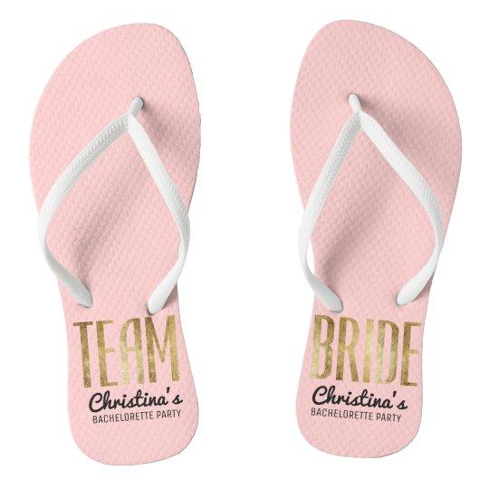839ea94ebcd88 Chic Faux Gold Team Bride Wedding Bachelorette Flip Flops