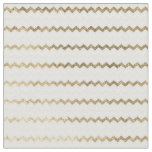 Chic faux gold white modern geometrical chevron. fabric
