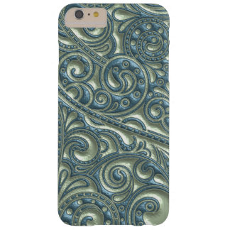 Chic Faux Metal Teal Sage Paisley Floral Pattern Barely There iPhone 6 Plus Case