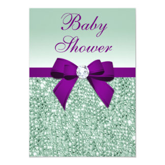 Chic Faux Mint Sequins Purple Bow Baby Shower Card