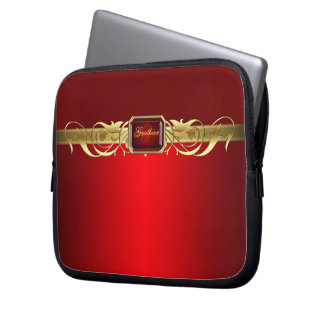 Chic Faux Red Gold Scroll Two Tone Laptop Sleeve