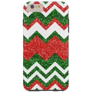 Chic Faux Red Green Glitter Zigzag Chevron Pattern iPhone 6 Plus Case