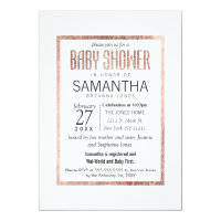 Chic Faux Rose Gold Baby Shower Invitations