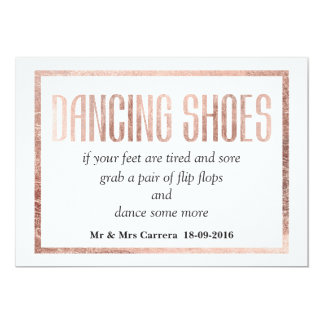 Chic Faux Rose Gold Dancing Shoes Sign Card