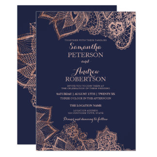 Chic faux rose gold floral lace navy blue wedding invitation