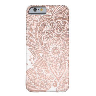 Chic faux rose gold floral mandala illustration barely there iPhone 6 case