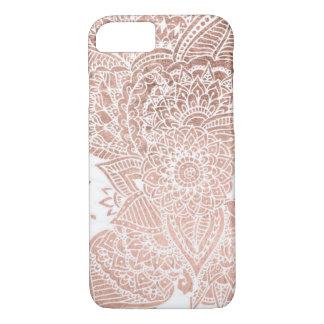 Chic faux rose gold floral mandala illustration iPhone 8/7 case