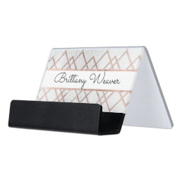 Chic Faux Rose Gold Geometric Triangles Monogram Desk Business Card Holder