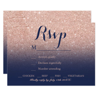 Chic faux rose gold glitter navy blue RSVP Card