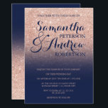 """Chic faux rose gold glitter navy blue wedding card<br><div class=""""desc"""">Chic faux rose gold glitter navy blue wedding invitation suite collection. A modern,  pretty faux rose gold glitter shower ombre withnavy blue color block with gold ombre pattern fading onto a colorful  background.Perfect for glamor,  chic and elegant wedding theme</div>"""