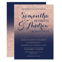 Chic faux rose gold glitter navy blue wedding card