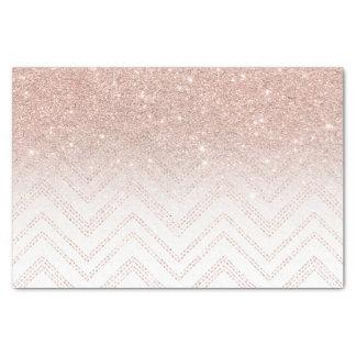 "Chic faux rose gold glitter ombre modern chevron 10"" x 15"" tissue paper"
