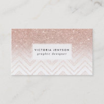 Chic faux rose gold glitter ombre modern chevron business card