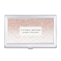 Chic faux rose gold glitter ombre modern chevron business card holder