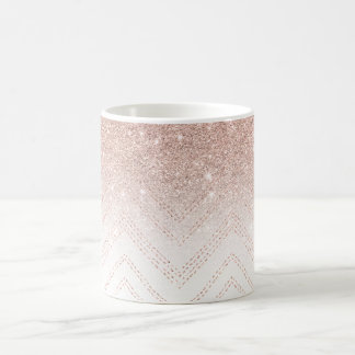 Chic faux rose gold glitter ombre modern chevron coffee mug