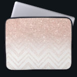 "Chic faux rose gold glitter ombre modern chevron laptop sleeve<br><div class=""desc"">A modern,  girly and chic pattern with faux rose gold glitter ombre and a geometric chevron stitch pattern. The background color is fully customizable</div>"