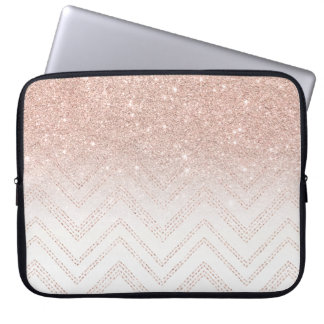 Chic faux rose gold glitter ombre modern chevron laptop sleeve