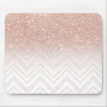 "Chic faux rose gold glitter ombre modern chevron mouse pad<br><div class=""desc"">A modern,  girly and chic pattern with faux rose gold glitter ombre and a geometric chevron stitch pattern. The background color is fully customizable</div>"