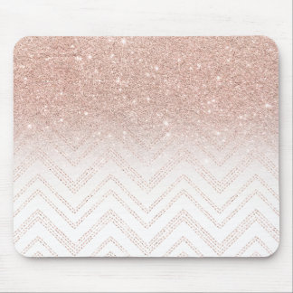 Chic faux rose gold glitter ombre modern chevron mouse pad