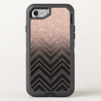 Chic faux rose gold glitter ombre modern chevron OtterBox defender iPhone 7 case
